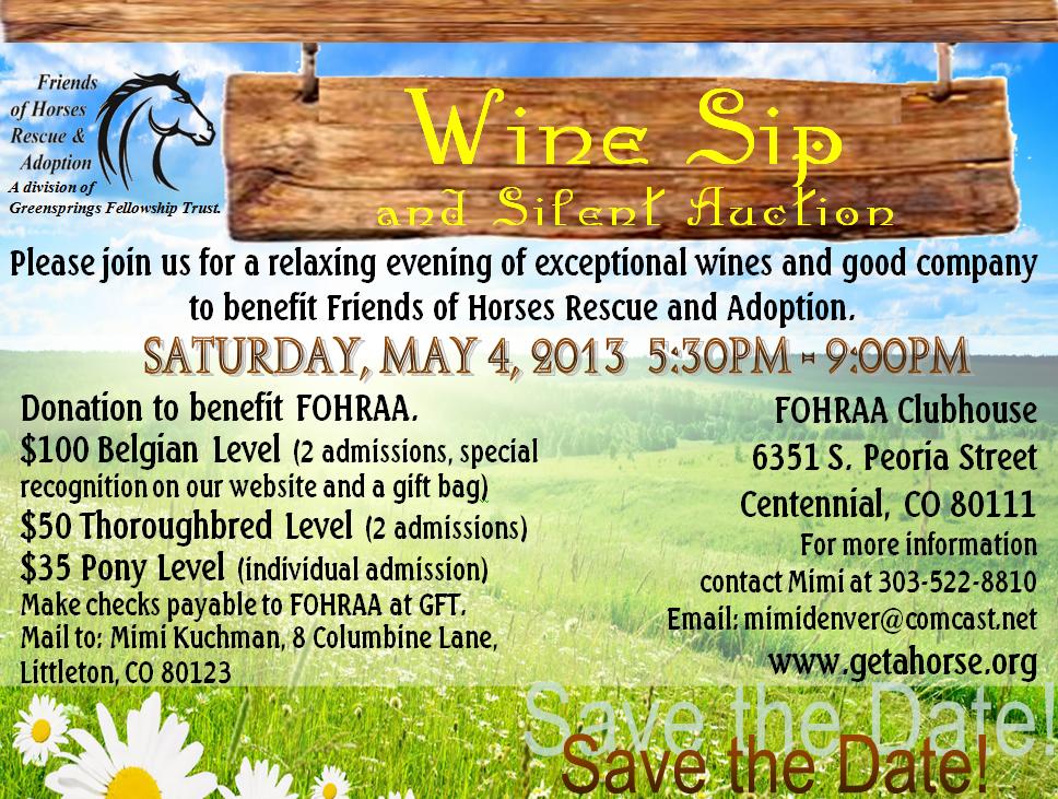 FOHRAA Wine Sip May 4 2013
